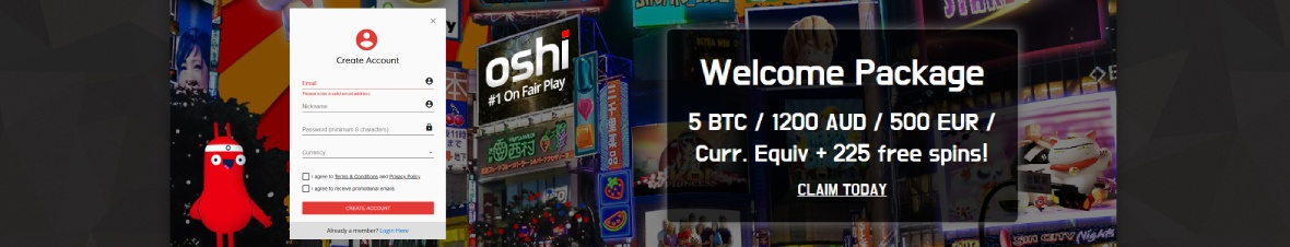 Oshi casino is restricted for American gamlbers